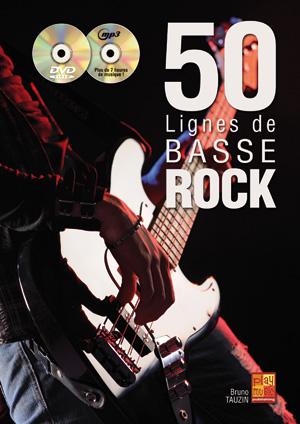 50 Lignes de Basse Rock, méthode avec CD et DVD, solfège et tablature