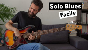 cours de basse, solo blues facile, tablature