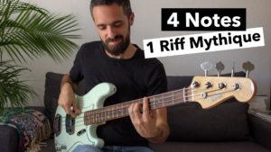 cours de basse, 1 Riff mythique, tablature, facile, debutant