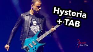 muse, hysteria, cours de basse, tuto, bassiste, tablature